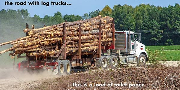 Toilet Paper on a Log Truck