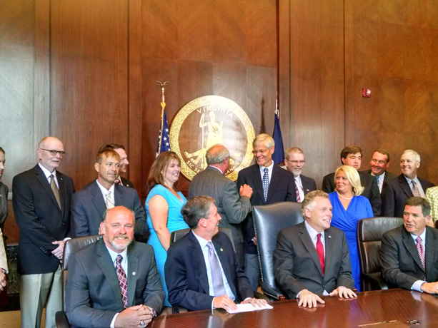 VLA Members C. K. Greene and Frank Myers attend Governor McAuliffe's 2015 Overweight Bill Signing